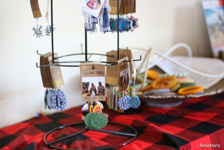 Beaded jewelry for sale by the Northern Rangelands Trust charity, made by women from Kenya's Rendille, Samburu and Maasai communities in Isiolo County, Kenya, April 20, 2017.