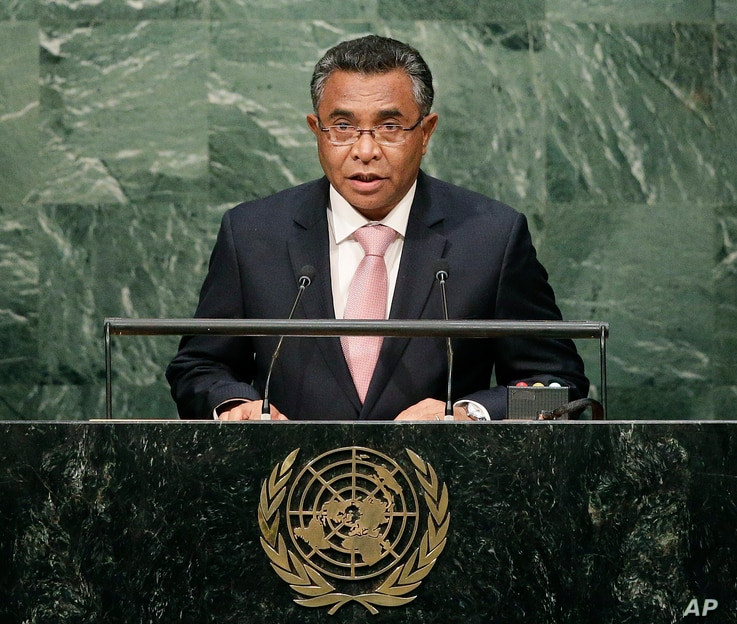 FILE - East Timorese Prime Minister Rui Maria de Araujo speaks during the 70th session of the United Nations General Assembly at the U.N. headquarters, Oct. 1, 2015.