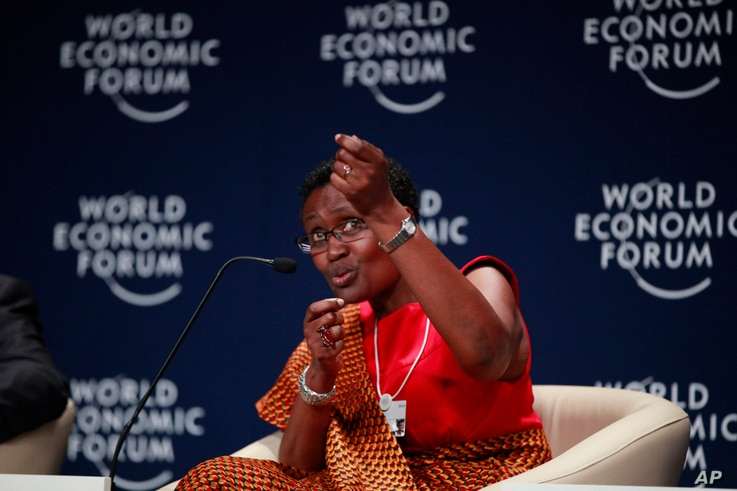 FILE - executive director of the charity Oxfam Winnie Byanyima speaks during the World Economic Forum on Africa in Abuja, Nigeria.