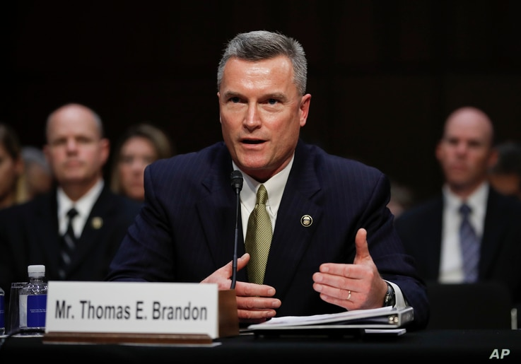 Thomas Brandon, acting director of the Bureau of Alcohol, Tobacco, Firearms and Explosives, testifies during a Senate Judiciary Committee hearing on Capitol Hill in Washington, Dec. 6, 2017. He said he expects his agency to regulate bump-stock device...