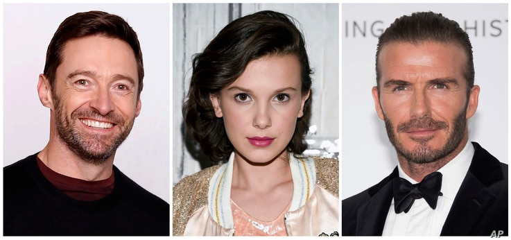 This combination photo shows, from left, actor Hugh Jackman, actress Millie Bobby Brown and soccer legend David Beckham, who are aamong celebrities announced as participants and official supporters of the UNICEF initiative World Children's Day on N...