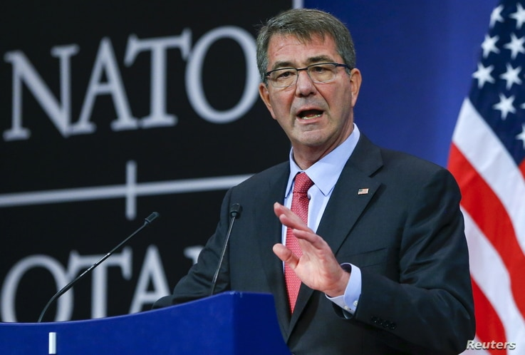 U.S. Secretary of Defense Ash Carter speaks at a news conference during a NATO Defence Ministers meeting at the Alliance's headquarters in Brussels, Feb. 11, 2016.