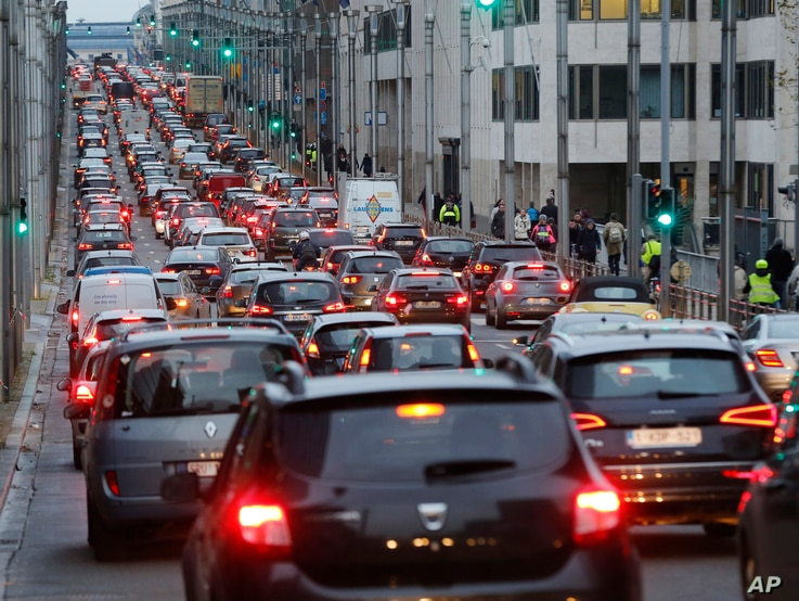 Traffic lines a street in Brussels, Belgium, Nov. 24, 2015. Brussels is keeping its terror alert at the highest level.