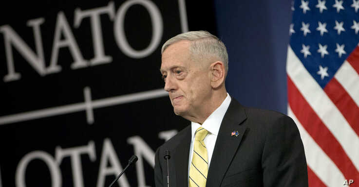 U.S. Secretary of Defense Jim Mattis speaks during a media conference at NATO headquarters in Brussels, Feb. 16, 2017.