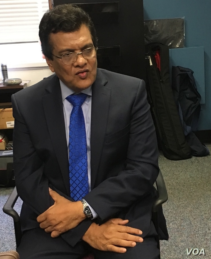 Wakkar Uddin, founding chairman of North America Rohingya Association and professor of agricultural science at Pennsylvania State University, pictured during a VOA interview. (VOA/Maddyux)
