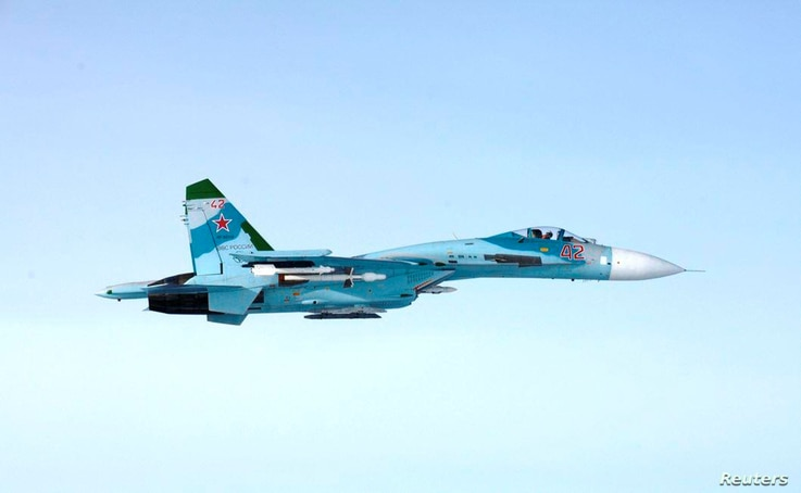 Picture of Russian SU-27 fighter said to have violated Finland's airspace near Porvoo, Finland, early Oct. 7, 2016.