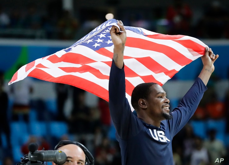 Rio Olympics Basketball Men: United States' Kevin Durant celebrates winning the men's basketball gold medal at the 2016 Summer Olympics in Rio de Janeiro, Brazil, Sunday, Aug. 21, 2016.