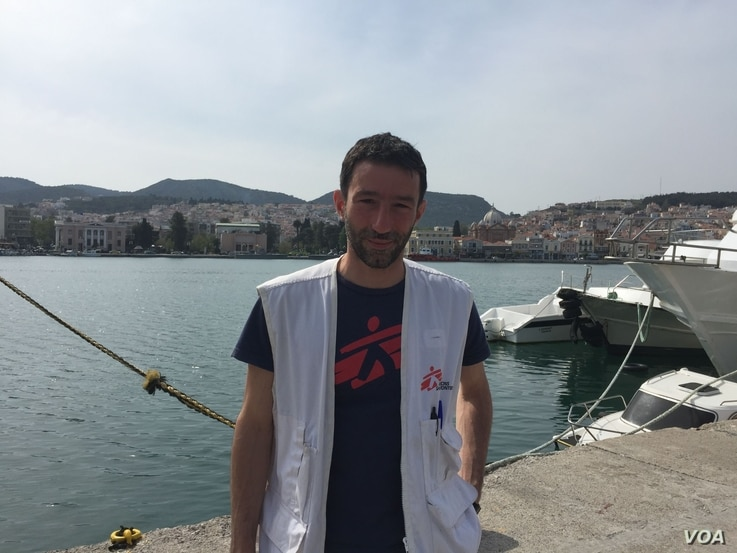 """Michele Telaro, field coordinator for Medecins Sans Frontieres, in Lesbos, April 3, 2016. """"MSF has a lot of concerns about the agreement in general. ... It was obviously completely crazy to pretend to sign an agreement on Friday night and to start t..."""