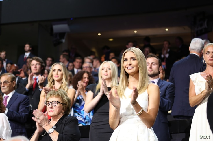 Donald Trump's daughter Ivanka, applauds after hearing her brother Eric speak at the Republican National Convention in Cleveland, Ohio, July 20, 2016. (Photo: Ali Shaker / VOA )