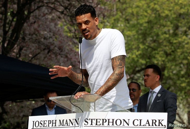 Matt Barnes, former player with the Sacramento Kings of the National Basketball Association, speaks at a rally to protest the police shooting of Stephon Clark, in Sacramento, Calif., March 31, 2018.