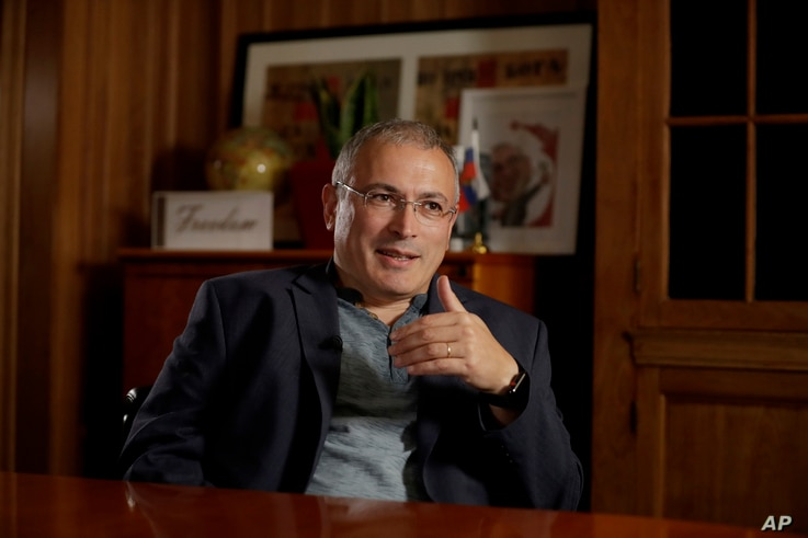 FILE - Russian opposition figure Mikhail Khodorkovsky, the former owner of the Yukos Oil Company, speaks during an interview by The Associated Press in London, Tuesday, July 24, 2018.