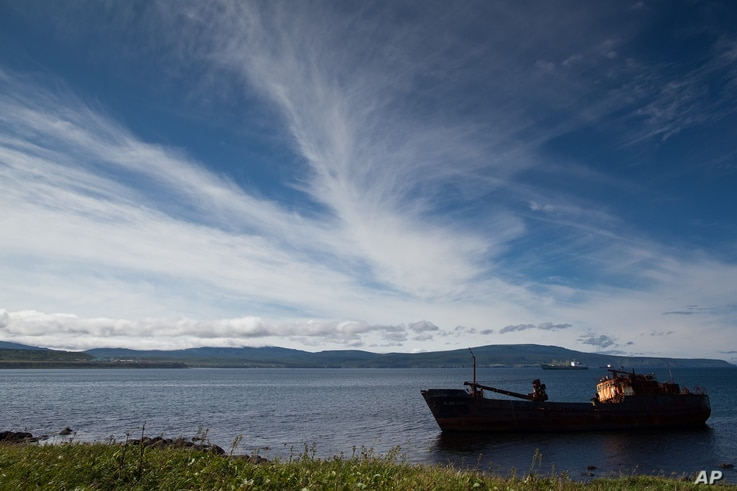 FILE - The Fyodor Silin boat is seen aground in Iturup Island, Russian Far East, Aug. 22, 2011.