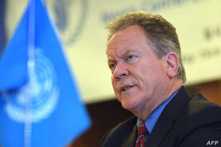 David Beasley, the United Nations World Food Program (WFP) executive director, speaks during a press conference in Seoul on May 15, 2018 after his recent visit to North Korea.