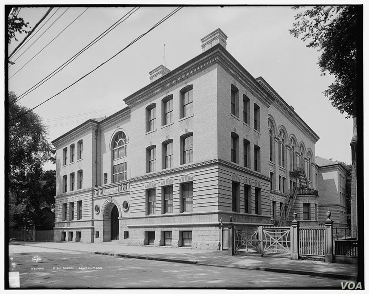Original building of Lowell High School was moved to Kirk Street in the 1840s. This photo shows Lowell High School around 1900. (Facebook page of Lowell National Historical Park)