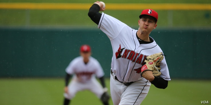 Dovydas Neverauskas of Vilnius, Lithuania, pitches for the Indianapolis Indians. Neverauskas pitched one game for the Pittsburgh Pirates and is now back with the Indianapolis Indians, waiting for another chance.