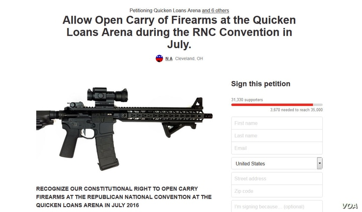A March 27, 2016 screenshot of the Change.org petition calling for participants at the Republican nominating convention in Cleveland to be allowed to openly carry firearms.