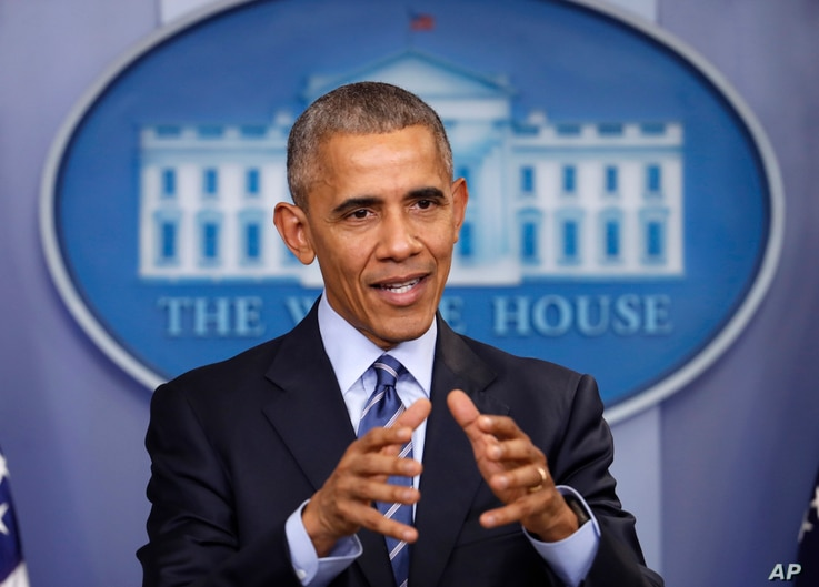 President Barack Obama speaks during a news conference in the briefing room of the White House in Washington, Dec. 16, 2016. He imposed sanctions on Russian officials and intelligence services in retaliation for Russia's interference in the U.S. pres