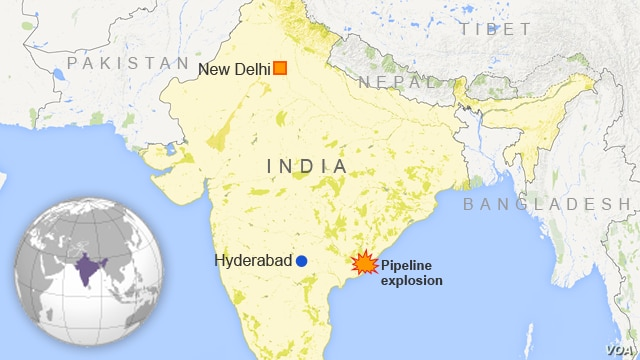 Location of a blast at a Gas Authority of India Limited pipeline in the East Godavari district of Andhra Pradesh state.