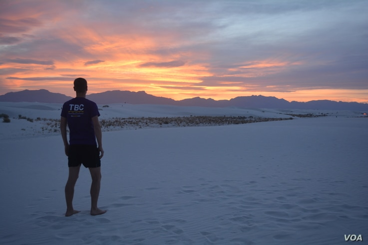 "Sunset at White Sands National Monument - a ""magical, otherworldly"" place."
