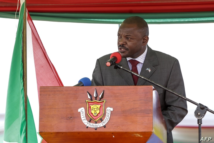 Burundi's President Pierre Nkurunziza speaks after signing for a new constitution adopted by a referendum in Bugendana, Burundi, on June 7, 2018. The change will allow Nkurunziza to run for office twice more in seven-year terms from 2020.