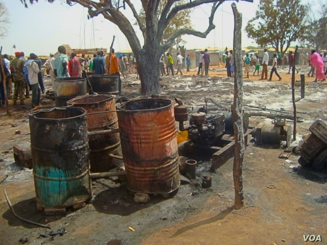 A fire that swept through a market in Aweil on Thursday, March 28, 2013, destroyed dozens of shops and thousands of dollars in property.