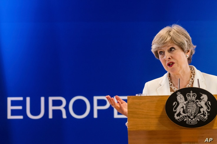 British Prime Minister Theresa May speaks during a media conference at an EU summit in Brussels, June 23, 2017.