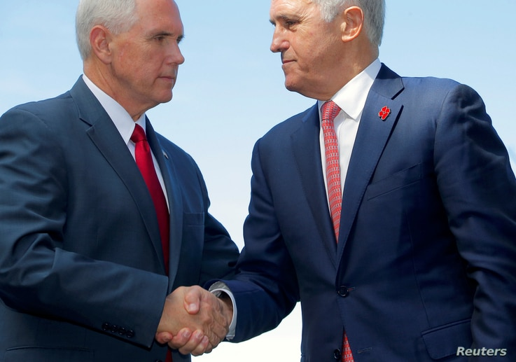 U.S. Vice President Mike Pence (left) shakes hands with Australia's Prime Minister Malcolm Turnbull after a media conference at Admiralty House in Sydney, Australia, April 22, 2017.