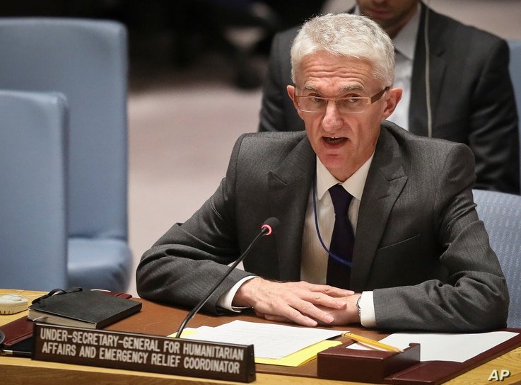 Mark Lowcock, the U.N. Humanitarian Affairs Emergency and Relief Coordinator, address United Nations Security Council with a report on Yemen, Oct. 23, 2018 at U.N. headquarters.