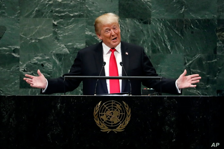 President Donald Trump addresses the 73rd session of the United Nations General Assembly, at U.N. headquarters, Sept. 25, 2018.