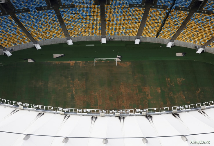 An aerial view of Maracana Stadium, which was used for the Opening and Closing ceremonies of the Rio 2016 Olympic Games, shows the turf being dry, worn and filled with ruts and holes, in Rio de Janeiro, Brazil, Jan. 12, 2017.