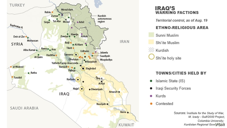 Territorial control, divisions in Iraq, as of Aug. 19, 2014