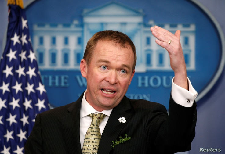 White House Office of Management and Budget Director Mick Mulvaney speaks about of U.S. President Donald Trump's budget in the briefing room of the White House in Washington, March 16, 2017.