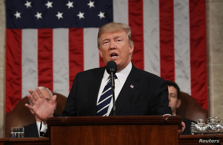 U.S. President Donald J. Trump delivers his first address to a joint session of Congress from the floor of the House of Representatives in Washington, D.C., Feb. 28, 2017.