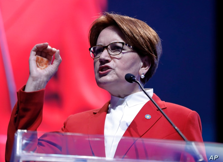 Meral Aksener, leader of Turkey's Iyi (Good) Party, and a candidate to run in the presidential contest against president Recep Tayyip Erdogan in a surprise snap election on June 24, speaks about her party's election manifesto in Ankara, Turkey, May 1...