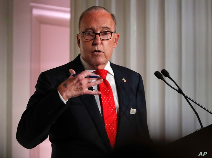 Larry Kudlow, director of the National Economic Council, speaks during a meeting at the Economic Club of New York, Sept. 17, 2018, in New York.