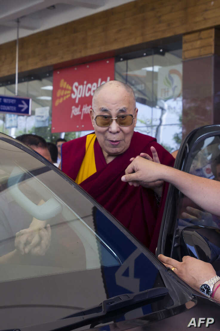 Tibetan spiritual leader The Dalai Lama arrives at Gaggal Airport in Kangra, April 26, 2019. The Dalai Lama was discharged from a New Delhi hospital three days after being admitted with a chest infection.