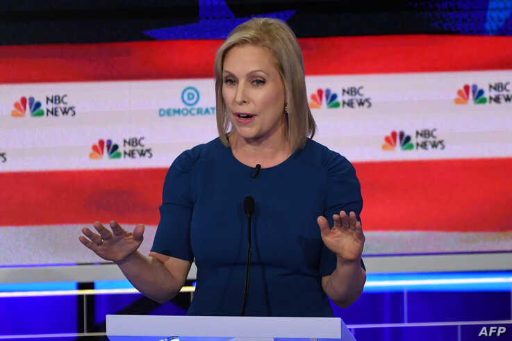 Democratic presidential hopeful U.S. Senator for New York Kirsten Gillibrand speaks during the second Democratic primary debate of the 2020 presidential campaign at the Adrienne Arsht Center for the Performing Arts in Miami, June 27, 2019.