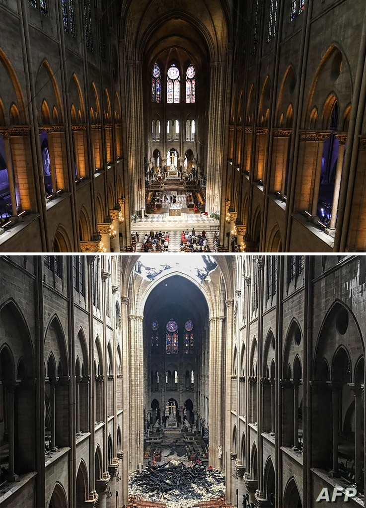 A combination of two pictures made on April 16, 2019 shows (Up) worshippers as they arrive to take part in a mass at Notre Dame de Paris Cathedral in Paris on June 26, 2018 and (Bottom) the same view of the Notre-Dame Cathedral in Paris in the afterm...