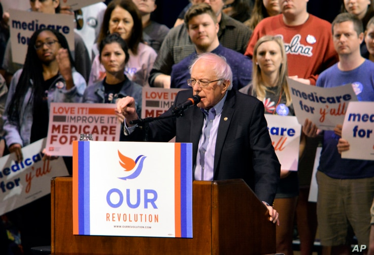 """Vermont Sen. Bernie Sanders addresses supporters at a """"Medicare for All"""" rally, Oct. 20, 2018, in Columbia, S.C."""