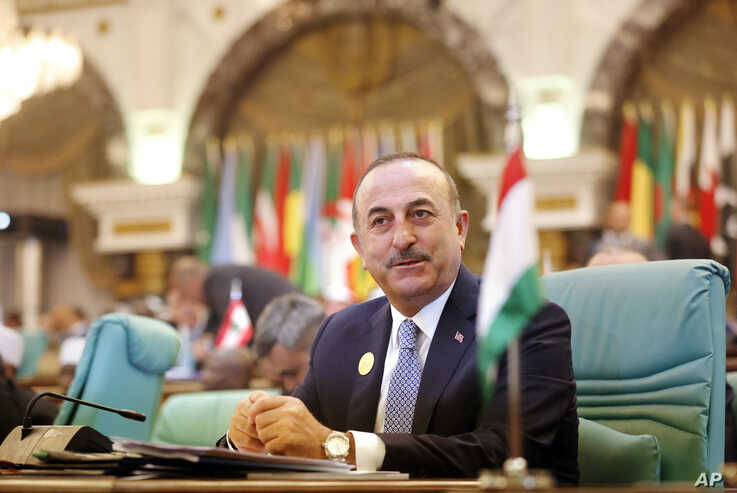 Turkey's Foreign Minister Mevlut Cavusoglu attends Islamic Summit of the Organization of Islamic Cooperation in Mecca, Saudi Arabia, June 1, 2019. Muslim leaders from 57 nations gathered in Islam's holiest city to discuss critical issues, including ...