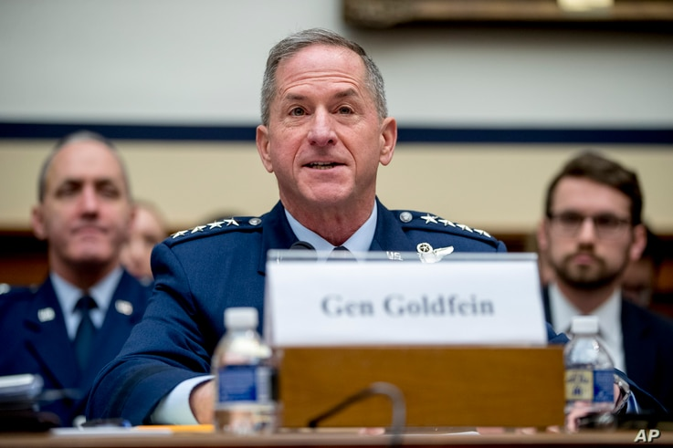 FILE - U.S. Air Force Chief of Staff Gen. David Goldfein speaks during a House Armed Services Committee budget hearing on Capitol Hill in Washington, April 2, 2019.
