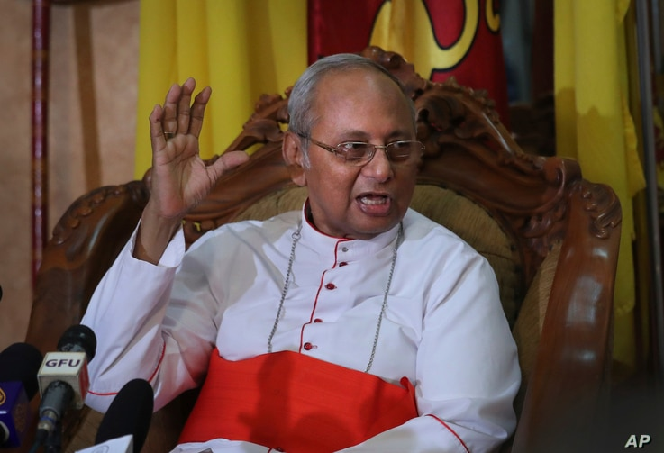 The archbishop of Colombo Cardinal Malcolm Ranjith addresses a press conference in Colombo, Sri Lanka,  April 26, 2019.