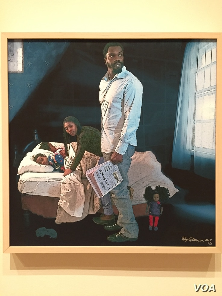 Freedom from What? is part of Pops Peterson's series REINVENTING ROCKWELL, to update the illustrations' look for the 21st century, and show the evolution of gender roles, sexuality and ethnic diversity. (J.Taboh/VOA)