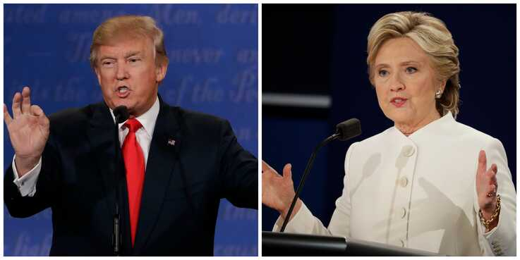 Republican Donald Trump and Democrat Hillary Clinton take part in the third and final presidential debate, held at the University of Nevada, Las Vegas, Oct. 19, 2016.