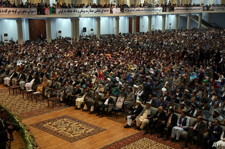 Delegates attend the last day of the Afghan Loya Jirga meeting in Kabul, Afghanistan, May 3, 2019.