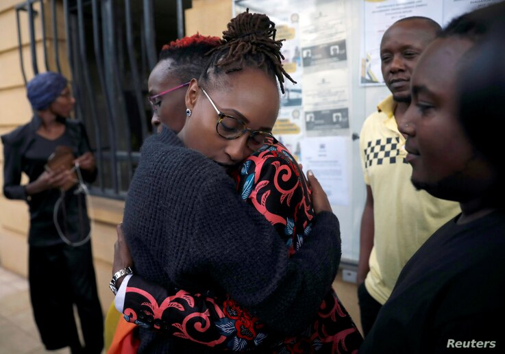 LGBT activists react after a ruling by Kenya's high court to uphold a law banning gay sex, outside the Milimani high Court in Nairobi, Kenya, May 24, 2019.
