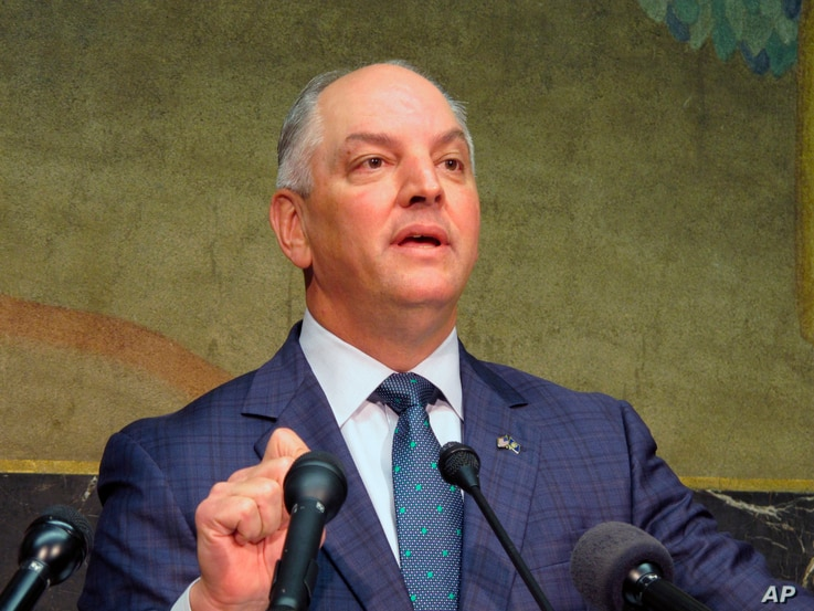 FILE - Louisiana Gov. John Bel Edwards is pictured in Baton Rouge, Sept. 20, 2018.
