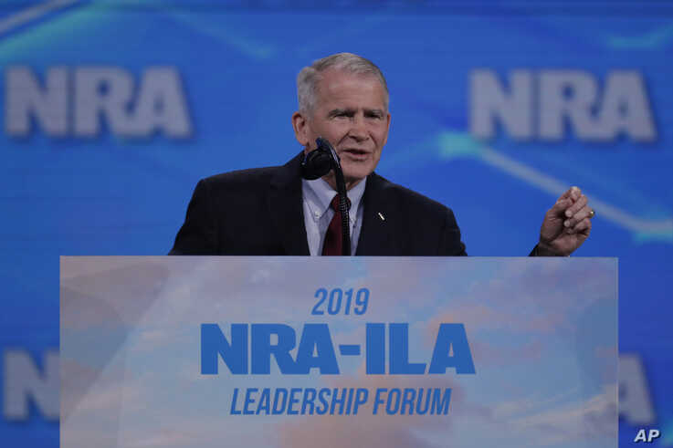 Nation Rifle Association President Lt. Col. Oliver North (Ret.) speaks at the National Rifle Association Institute for Legislative Action Leadership Forum, at Lucas Oil Stadium in Indianapolis, Indiana, April 26, 2019.