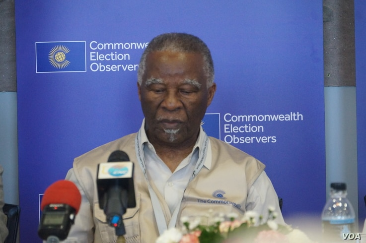 Thabo Mbeki, leader of the commonwealth observer mission for the Malawi elections, says it is still premature to declare the electoral process fair. May 23, 2019. (L. Masina/VOA)