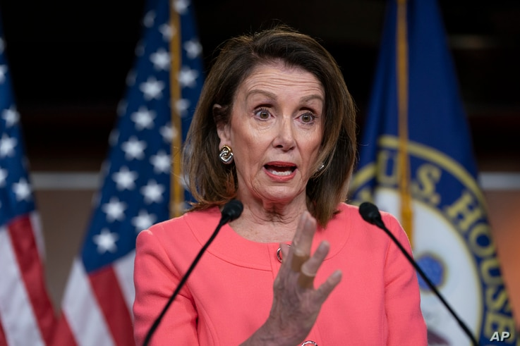Speaker of the House Nancy Pelosi, D-Calif., talks to the media at a news conference on Capitol Hill in Washington, May 2, 2019.
